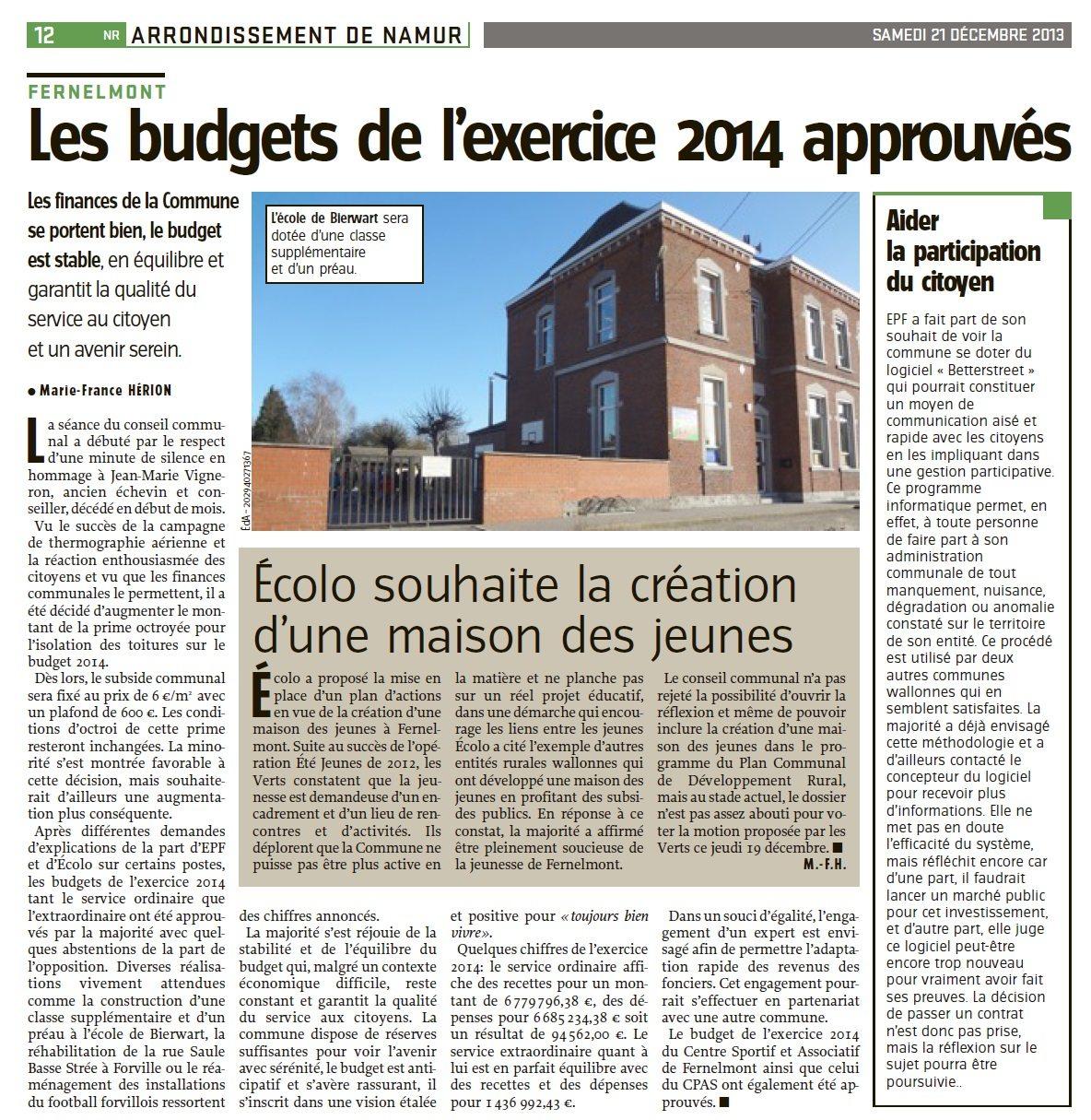 Conseil communal du 19 décembre 2013