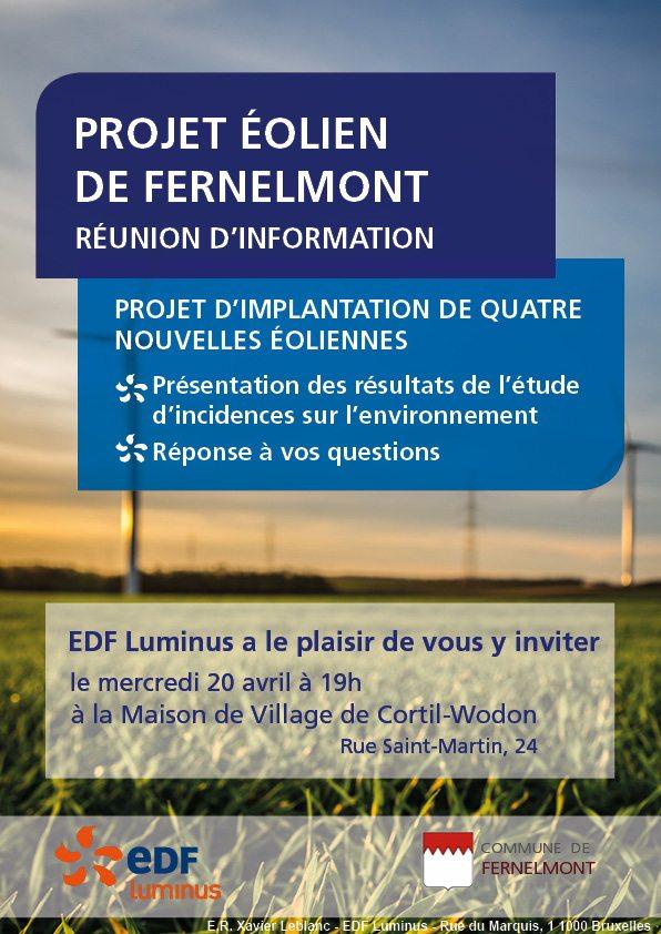 Projet éolien de Fernelmont, réunion d'information le mercredi 20 avril 2016